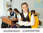 teenage student in classroom....   Shutterstock . vector #1144350704