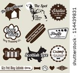 vector set  vintage dog and pet ... | Shutterstock .eps vector #114439831