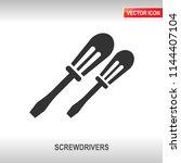 screwdriver black vector icon... | Shutterstock .eps vector #1144407104