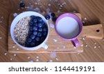 oatmeal  porridge  porridge... | Shutterstock . vector #1144419191