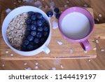 oatmeal  porridge  porridge... | Shutterstock . vector #1144419197
