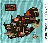 illustrated map of south africa....   Shutterstock .eps vector #1144427714