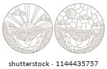 set contour illustrations with... | Shutterstock .eps vector #1144435757