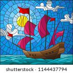 illustration in stained glass... | Shutterstock .eps vector #1144437794