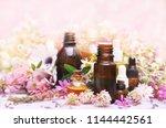 essential oil bottles on...   Shutterstock . vector #1144442561