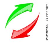 red and green 3d arrows. up ad... | Shutterstock .eps vector #1144447094