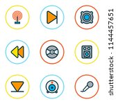 media icons colored line set... | Shutterstock .eps vector #1144457651