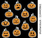 halloween pumpkin stickers   ... | Shutterstock .eps vector #114445861