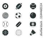 flat sports ball icons | Shutterstock .eps vector #1144460114