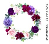 elegant seasonal dark flowers... | Shutterstock .eps vector #1144467641
