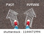 chalky arrows past and future... | Shutterstock . vector #1144471994