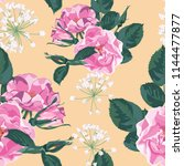 trendy floral background with... | Shutterstock .eps vector #1144477877