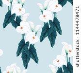 seamless blue calla lilies... | Shutterstock .eps vector #1144478471