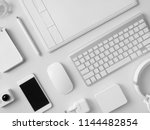 top view of office desk... | Shutterstock . vector #1144482854