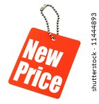 close-up of Price tag on white background, there is no infringement of trademark copyright - stock photo
