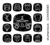 Black Round Series| doodle transportation ,traffic  icon set
