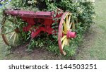 Red And Yellow Old Wagon Wheel...