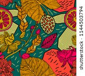 exotic print with bright fruits ...   Shutterstock .eps vector #1144503794