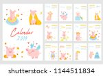 2019 calendar with funny pig.... | Shutterstock .eps vector #1144511834