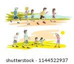 exercise running in the morning ... | Shutterstock .eps vector #1144522937