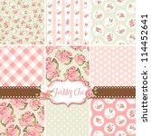 shabby chic rose patterns and... | Shutterstock .eps vector #114452641