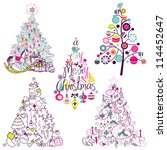 christmas tree collection.... | Shutterstock .eps vector #114452647
