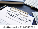 rental lease agreement with pen ... | Shutterstock . vector #1144538291