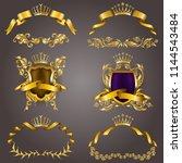 set of gold vip monograms for... | Shutterstock .eps vector #1144543484