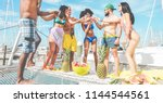happy friends drinking... | Shutterstock . vector #1144544561