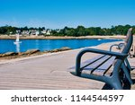 bench with view to benodet... | Shutterstock . vector #1144544597