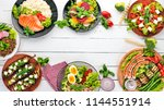 food. lentil  oatmeal  chicken  ... | Shutterstock . vector #1144551914