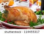 garnished roasted turkey on... | Shutterstock . vector #114455317