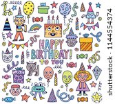 happy birthday to you  doodle... | Shutterstock .eps vector #1144554374
