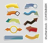 retro paper arrow stickers with ... | Shutterstock .eps vector #1144568684