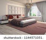 bedroom interior. 3d... | Shutterstock . vector #1144571051
