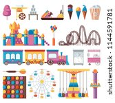 isolated amusement park objects....   Shutterstock .eps vector #1144591781