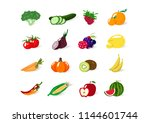 vegetables and fruits  organic... | Shutterstock .eps vector #1144601744