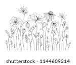 hand drawn wildflowers and... | Shutterstock .eps vector #1144609214