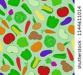 vegetable seamless pattern flat ... | Shutterstock .eps vector #1144611014
