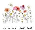 hand drawn wildflowers and... | Shutterstock .eps vector #1144612487