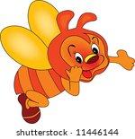 happy bee illustration   Shutterstock . vector #11446144