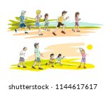 people are running in a park in ... | Shutterstock .eps vector #1144617617