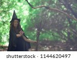halloween. the witch is funny.... | Shutterstock . vector #1144620497