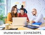 group of work colleagues... | Shutterstock . vector #1144636091