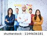 group of students standing... | Shutterstock . vector #1144636181