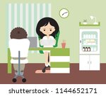 young woman   doctor sitting in ... | Shutterstock .eps vector #1144652171