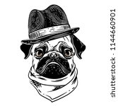 vector image of a pug in a hat... | Shutterstock .eps vector #1144660901