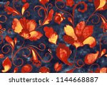 paisley watercolor floral... | Shutterstock . vector #1144668887