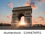 arc de triomphe paris city at...   Shutterstock . vector #1144676951