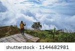 women asians travel relax in...   Shutterstock . vector #1144682981